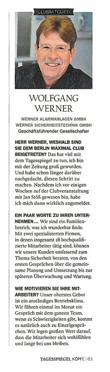 Bericht im Tagesspiegel Magazin KÖPFE