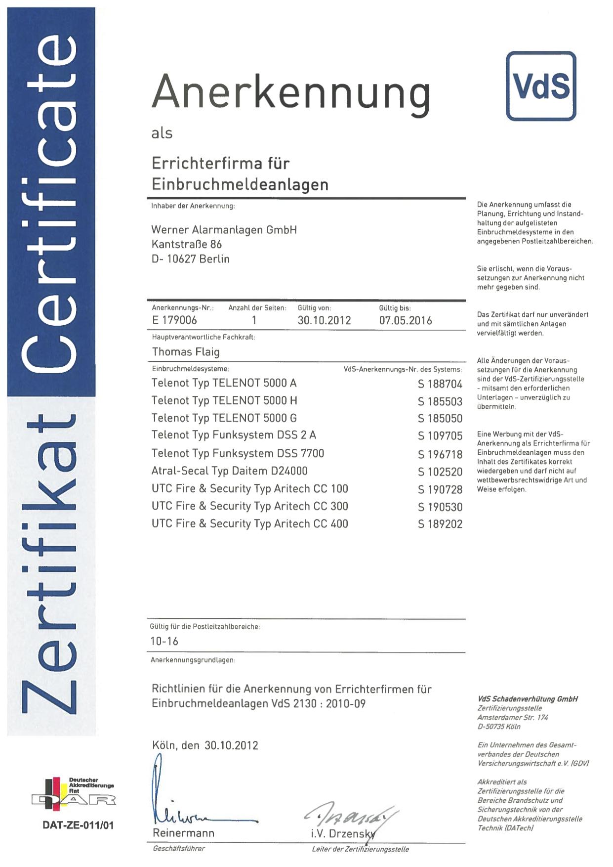 VdS Zertifikat für Einbruchmeldeanlagen
