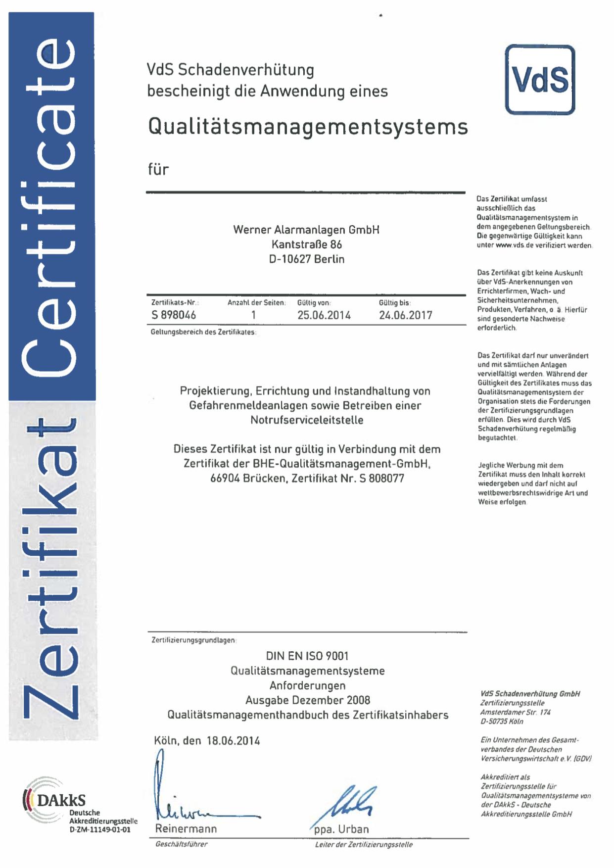 VdS Zertifikat für NSL