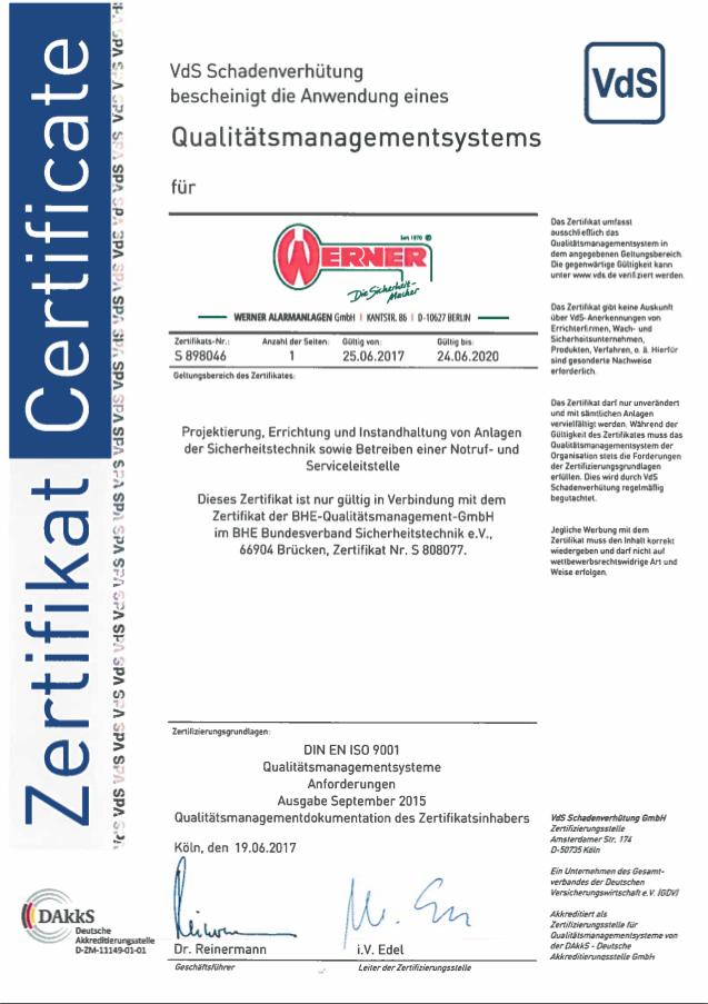 Vds zertifikat QM Werner Alarmanlagen GmbH