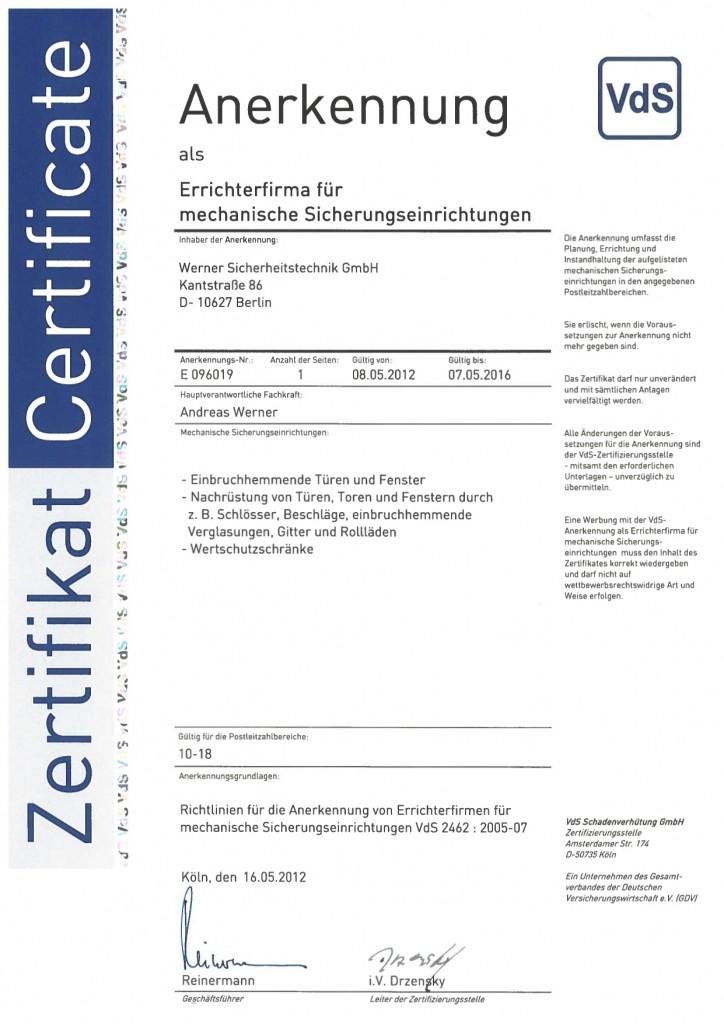 VdS Zertifikat für mechanische Sicherheitstechnik