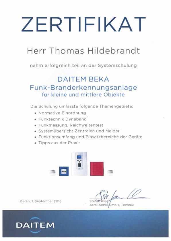 Zertifikat Werner Branderkennungsanlage Beka HAA Hausalarmierung
