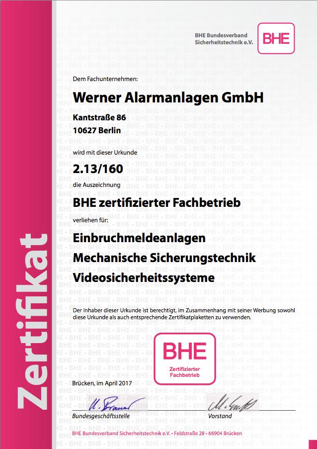 BHE Zertifikat - Werner Alarmanlagen GmbH