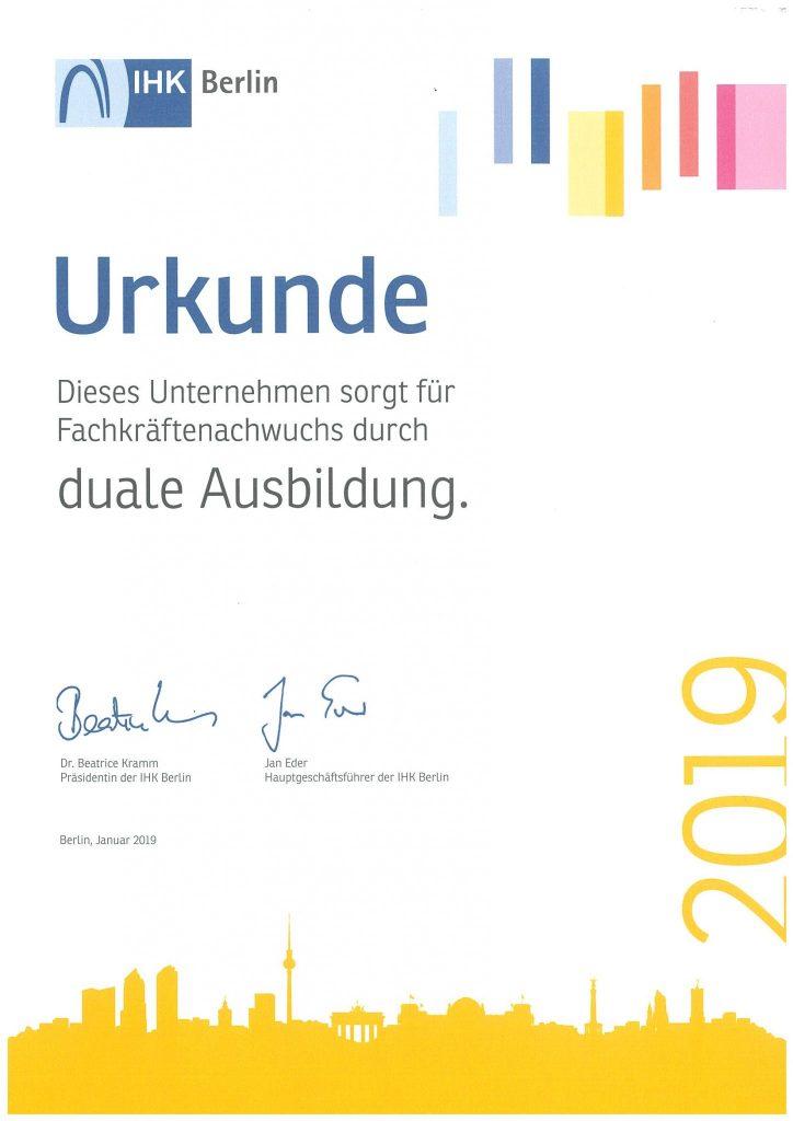 Wir bilden aus - Urkunde IHK 2019