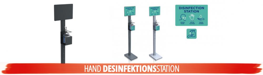 Desinfektionsstation | Desinfektionsständer mit Halterung für Desinfektions-Gel | Desinfektionssäule