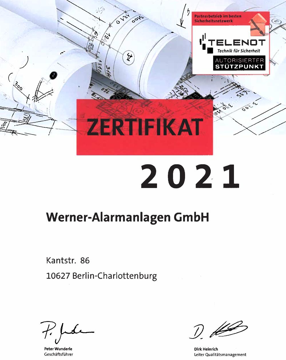 Autorisierter Telenot Stützpunkt Werner Alarmanlagen