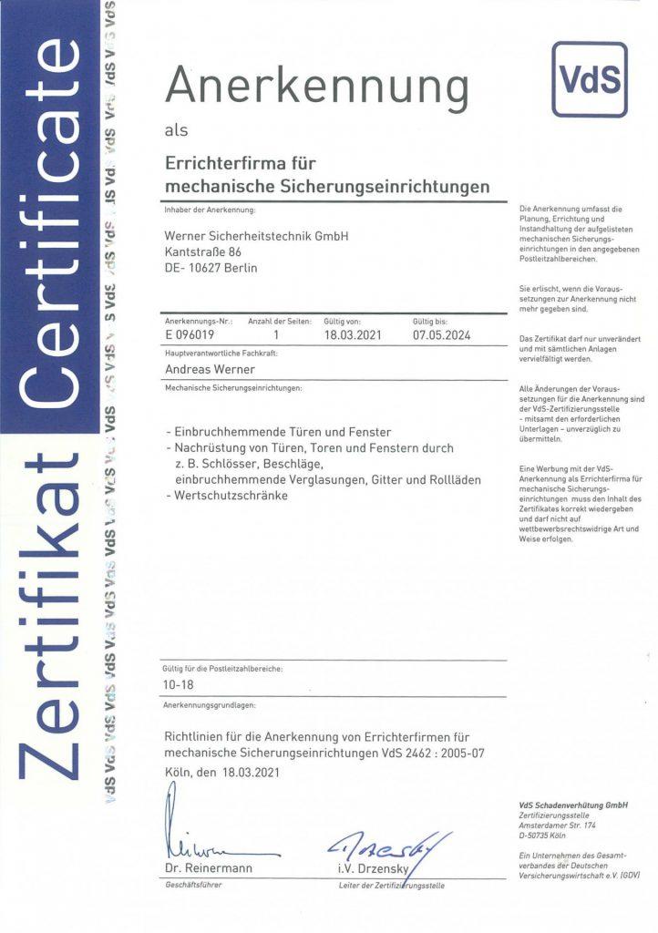 VdS Zertifikat für mechanische Sicherungstechnik